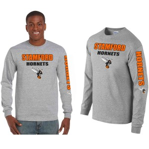 Stamford College Distressed Design on LS Grey T-Shirt