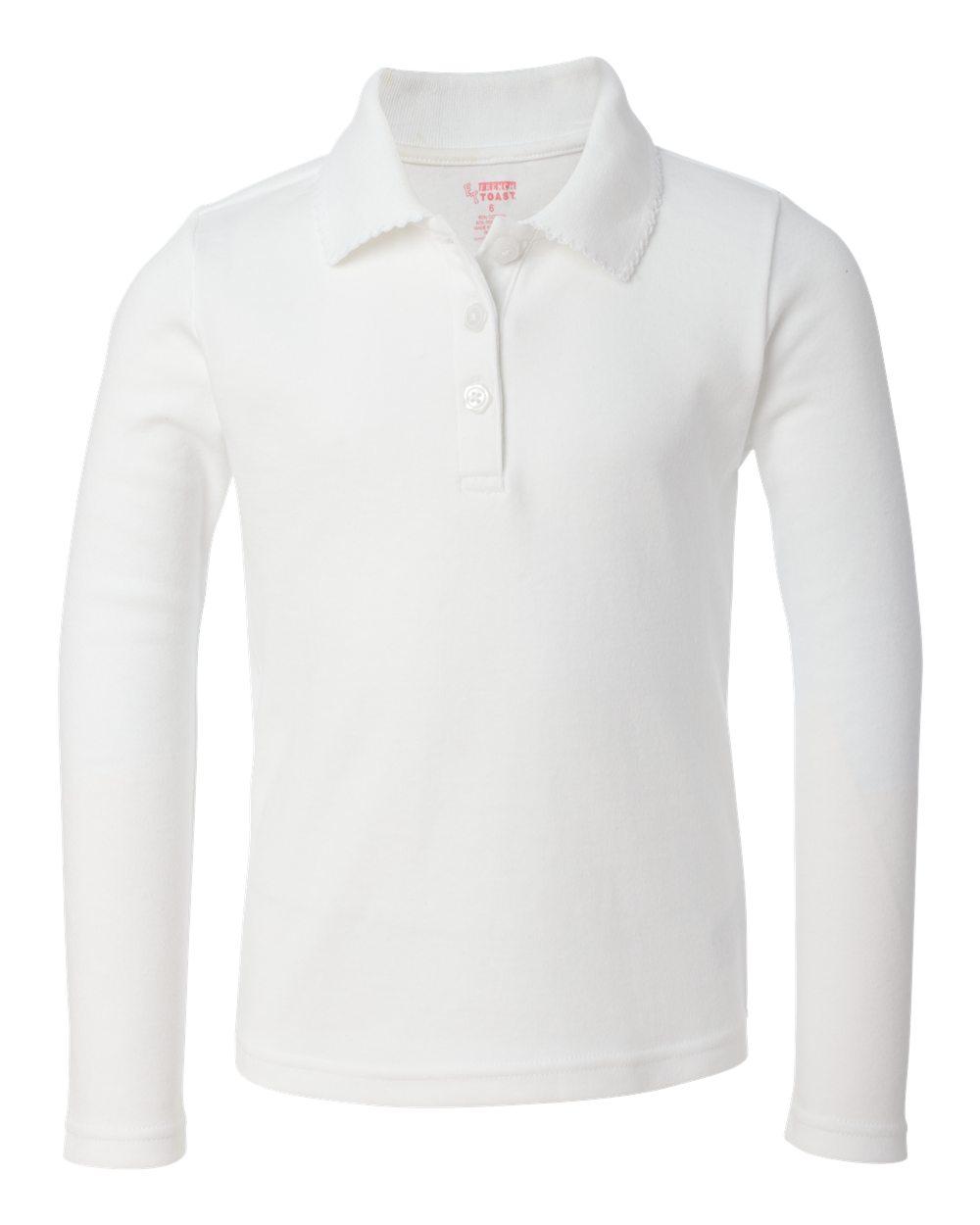 9ed71812 Girl's Long Sleeve Polo Shirt with Picot Collar – Item #A9424 – Big ...